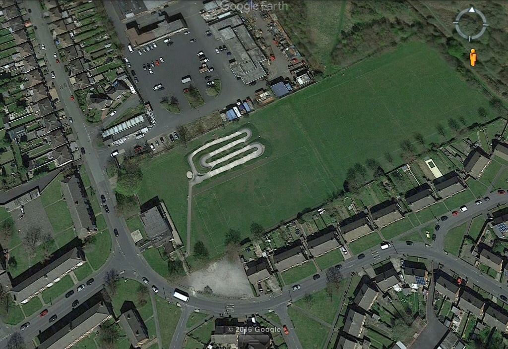 Aerial Photo shows Hilton Hall Playing Fields & BMX Track