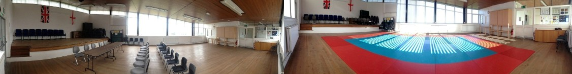 These two photos set side-by-side are both 180 degree iPhone 'Pano' images spliced together showing two views of our Main Hall